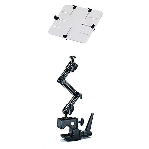 RENSI DO-JPw - Soporte con pinza para tablet de 10-13 pulgadas, iPad, Kindle Tolino, cámara para tractor, taller, almacenes, carretilla elevadora de aluminio