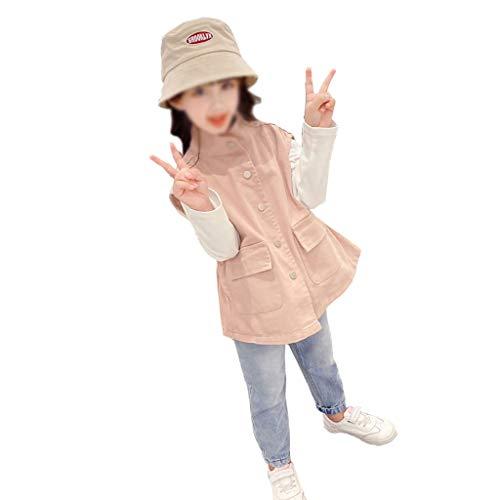 TMY Chalecos de niñas, Ropa de Primavera y otoño Usan Chalecos Exteriores, Chalecos de algodón para niños, Chaqueta de Jean sin Mangas (Color : Pink, tamaño : 130cm)