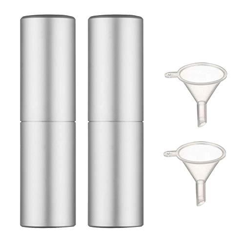 2 Pièces Mini Flacons de Parfum Vaporisateur Flacon Pompe Spray Vide Rechargeable Et Mini Entonnoir (2 Pièces,Argent)