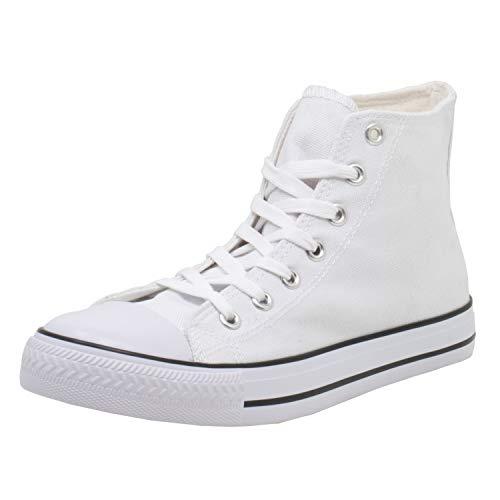 Fitters Footwear That Fits Canvas Damen Leinenschuh Canvas Textil Leinenschuh aus Canvas mit vulkanisierter Sohle (36 EU, weiß)