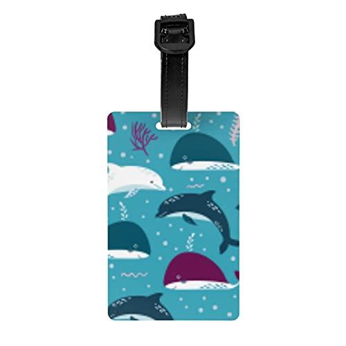 Etiqueta de equipaje de día de la independencia de delfines y ballenas, etiqueta de viaje cubierta de privacidad maleta bolsa viaje equipaje identificación etiqueta