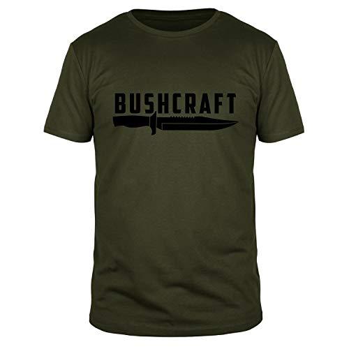 FABTEE - Bushcraft Messer - Herren Fun Shirt Größen S-3XL, Größe:M, Farbe:Oliv