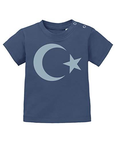 Comedy Shirts - Türkei Wappen - Baby T-Shirt - Navy/Eisblau Gr. 92/98