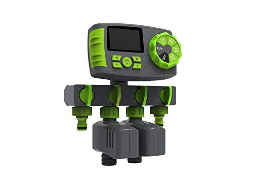 Automatisch 4-Auslässe Bewässerungscomputer Wasser Zeitschaltuhr inkl. EIN 4-Fach-Wasserverteiler, 2 Magnetventile Garten Bewässerungsuhr Bewässerungssystem, Grün