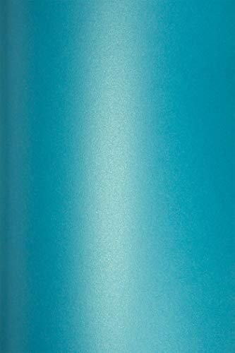 10 Blatt Perlmutt-Türkis 290g Karton DIN A4 210x297 mm, Cocktail Curacao, ideal für Hochzeit, Geburtstag, Weihnachten, Einladungen, Diplome, Kunst und Handwerk