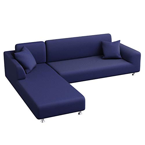 Yidaxing Copridivano con Penisola Elasticizzato, Copridivano Angolare Chaise Longue Sofa Cover Componibile a Forma di L in Poliestere Tessuto(3 Posti+3 Posti, Blu scuro)
