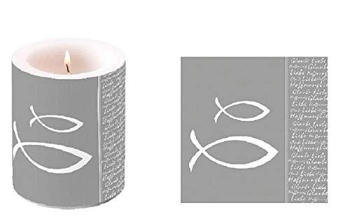 21 Teile Tisch-Deko-Set Fische Silber-grau & weiß / Konfirmation Kommunion Taufe Firmung Junge & Mädchen Tisch-Dekoration Kirche kirchliche Feste