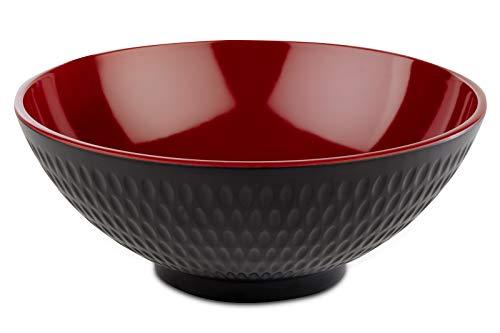 """APS Schale """"Asia Plus"""" aus nahezu unzerbrechlichem Melamin, vielseitig einsetzbare, stapelbare Kunststoffschale, Salatschüssel, schwarz / rot, Ø 20 cm, 1,1 ltr."""