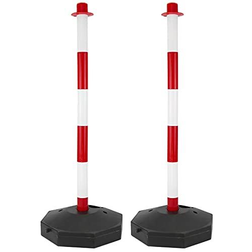 PrimeMatik - Poste Separador de Cadena para gestión de Colas 31x91 cm Blanco Rojo 2 Unidades