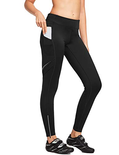 BALEAF Women's Thermal Cycling Running Tights Fleece Athletic Pants Size Black L