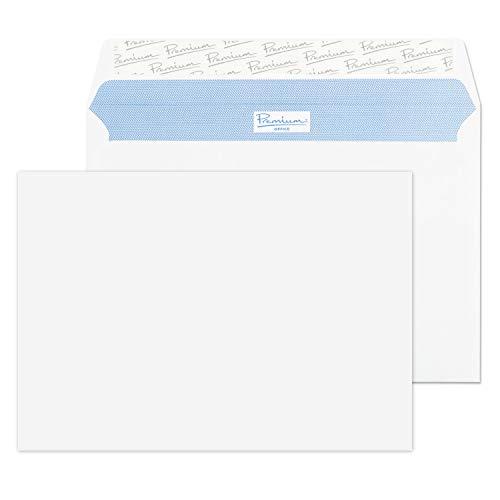 Premium Office - Paquete de sobres con cierre autoadhesivo (C5, 162 x 229 mm, 50 unidades), color blanco