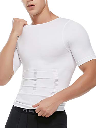 MISS MOLY Compression Shirts for Men Slimming Shirt Body Shaper Vest to Hide Gynecomastia Moobs Base Layer Tank Tops