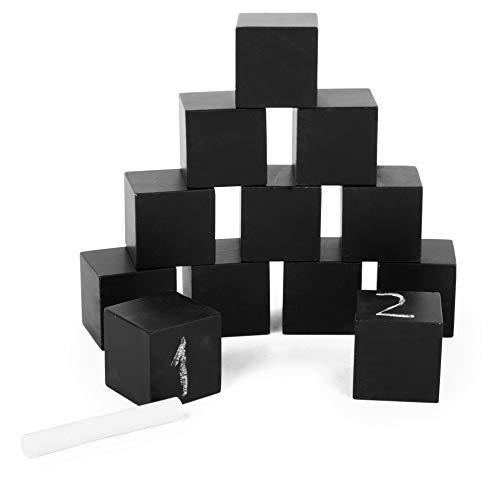 Small Foot 11194 Tafel-Bausteine aus Holz, Lernen von Buchstaben und Zahlen, Würfel Lassen bemalen, leicht abwaschbar, inkl. Kreide, perfekt für Schulstarter geeignet Spielzeug, Mehrfarbig