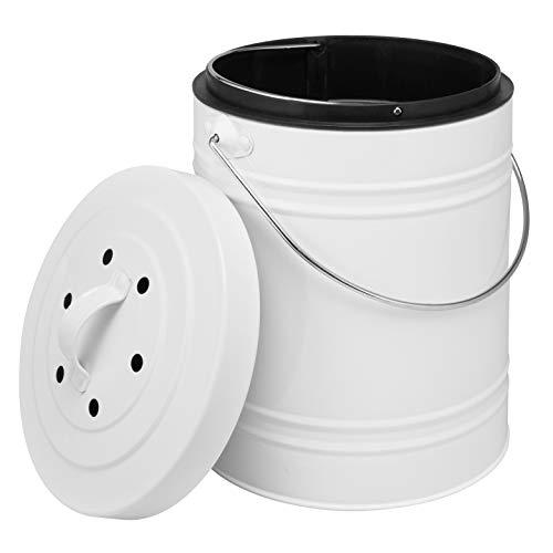 bremermann Komposteimer mit 5 Liter Inneneimer Aktivkohlefilter Bio Abfalleimer weiß