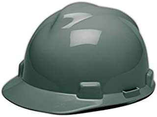 MSA 475364 V-Gard Slotted Protective Hard Hat with Fas-Trac Suspension, Gray, Standard