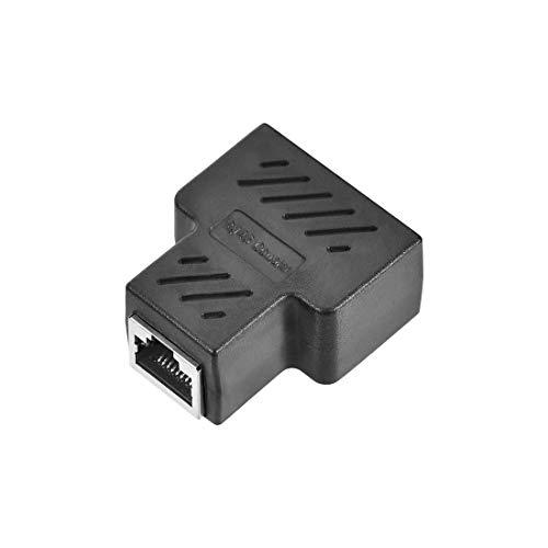 YeVhear RJ45 separador de acoplamiento en línea de 1 a 2 separador Cat7 Cat6 Cat5e adaptador de extensión de cable Ethernet 37 x 44 x 21 mm
