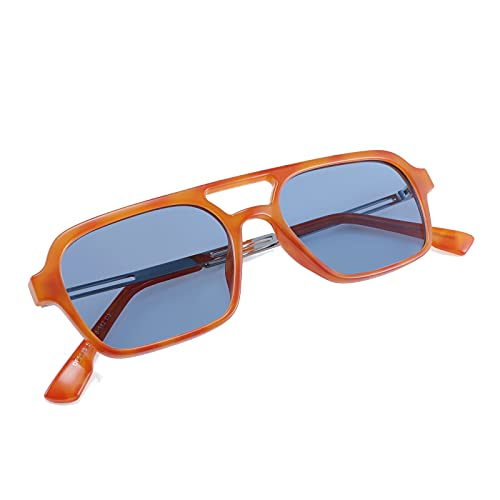 FEISEDY Vintage Square 70s Flat Aviator Sunglasses Women Men Metal Design Shades B2752