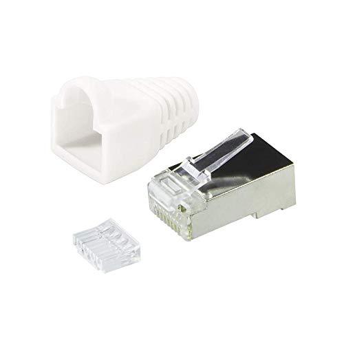 Faconet® 10er Pack RJ45 Netzwerkstecker Crimpstecker CAT 6 STP mit Einfädelhilfe und Knickschutz in Weiß geschirmt Steckverbinder Crimp Stecker LAN Patchkabel Netzwerkkabel CAT6 cat.7 RJ 45
