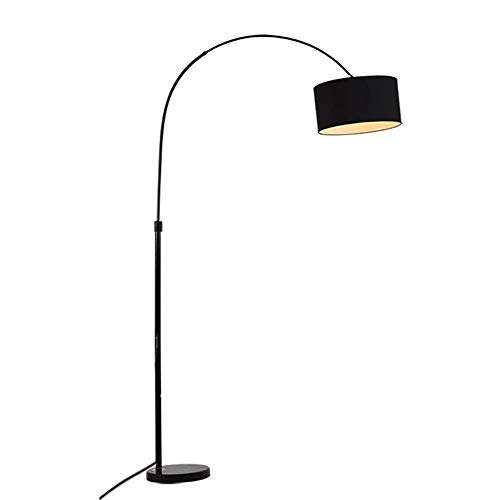 Lampadaire arqué avec abat-jour en tissu et socle en marbre épais - Lampadaire de forme parfaite pour la pêche, noir, Design en métal et tissu, Lampes de lecture