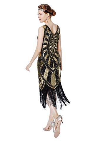 Metme 1920s Vintage Inspired Fringe Embellished Gatsby Flapper Midi Dress Prom Party