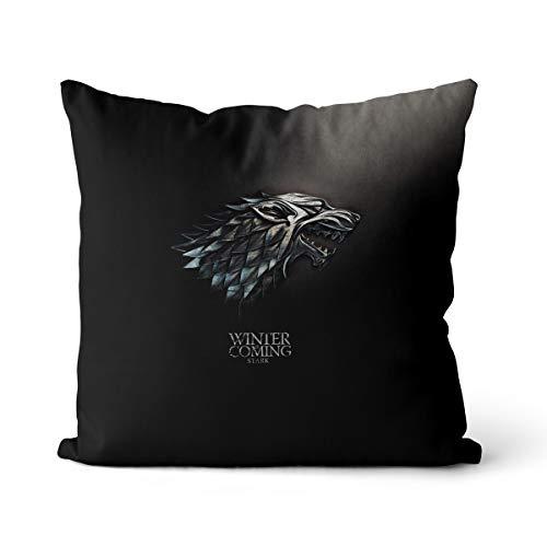 Cojín cuadrado con diseño de juego de los tronos con impresión digital fuerte, cojín decorativo para sofá, algodón y lino OR1396, cojín cuadrado de 35 x 35 cm