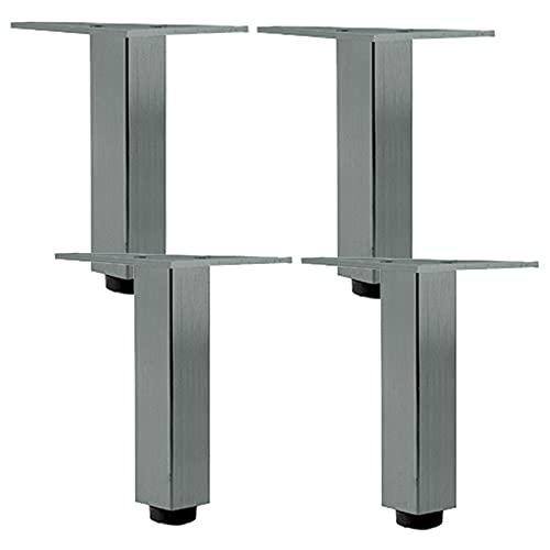 Pies de Aluminio para Muebles de Gris Metalizado, Patas de Sofá, Patas de Mesa Ajustables 0-6mm, para Mesa Sofá Gabinete de TV, Armario de Escritorio (Size:10cm/3.9in)