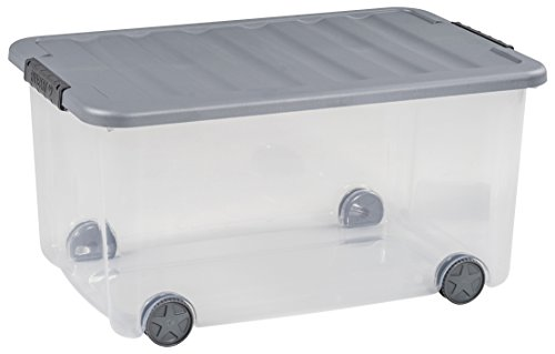 CURVER | Box à roulettes Scotti 50L, Transparent/Gris, 58,9 x 38,8 x 30 cm, Plastique