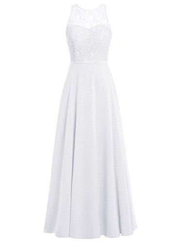 Aurora dresses Damen Chiffon Promi-Kleider Rückenfrei Abendkleider Elegant Lang(Weiß,44)