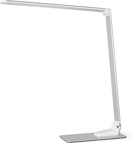 Schreibtischlampe Metall LED 12W Büro Tischleuchte 5 Farb und 6 Helligkeitsstufen dimmbar Memory-Funktion USB-Anschluss für Aufladung des Smartphones Tischlampe Augenschutz Touchfeldbedienung
