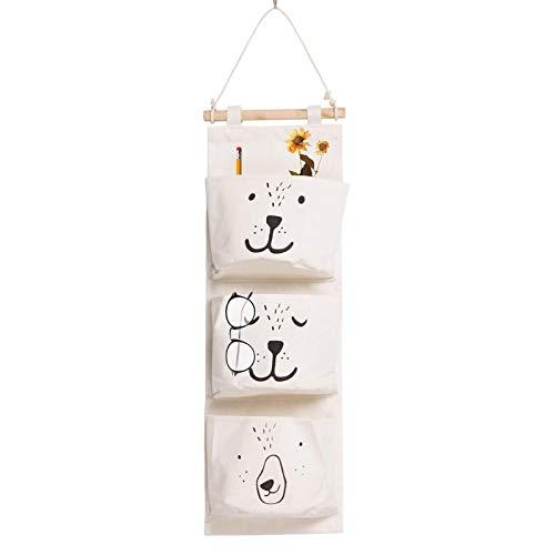 Mauer Hängend lagerung Tasche, Hängender Organizer mit 3 Taschen Hängeorganizer Baumwolltasche Wasserdicht für Kinderzimmer Badezimmer Schlafzimmer Büro (weiß)