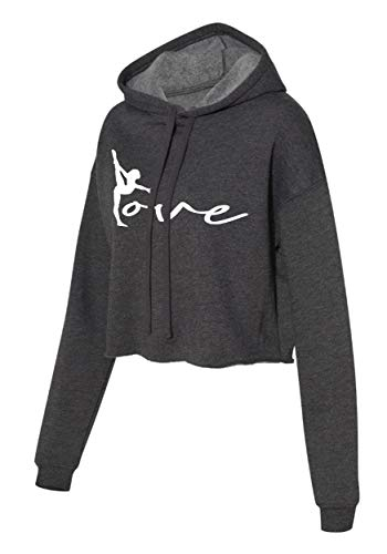 Gymnastics Cropped Hoddie - Gymnast Cropped Sweater - Love gymnastics Apparel and gift (Charcoal, Small)