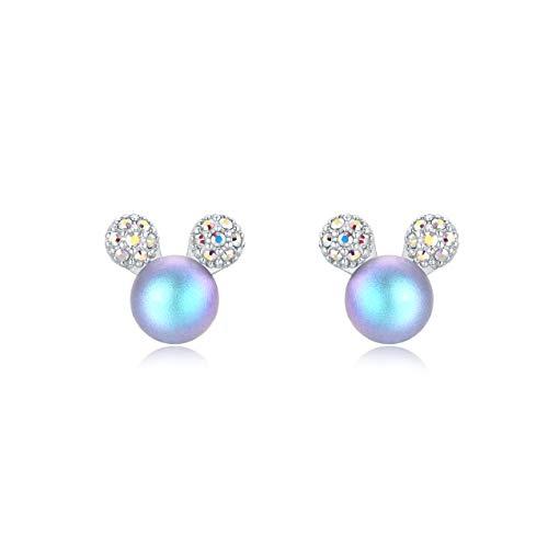 Ailin & Co. Lucky Mickey Mouse Pearl Earrings 925 Sterling Silver Stud Earrings for ladies women girls children (Blue)
