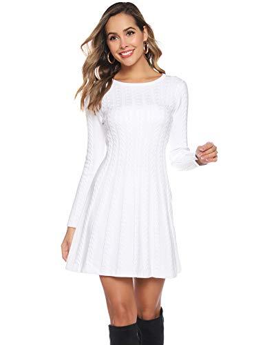 Hawiton Damen Strickkleid Elegante Pulloverkleid mit Zopfmuster A-Linie Langärmeliges Kleid Strickpullover für Winter, Weiß, L