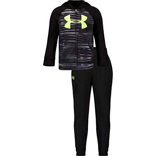 Under Armour Boys' Toddler Zip Jacket and Pant Set, Black F192, 2T