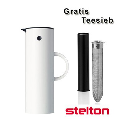 Stelton Isolierkanne/Thermoskanne weiß + gratis Teesieb