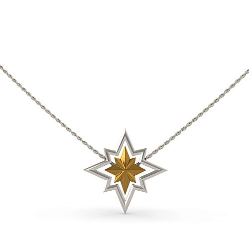 Chiefstore Collar de Capitán Carol plata oro aleación de zinc joyería con caja de regalo película Cosplay mercancía de disfraces para mujeres Halloween Accesorios colección