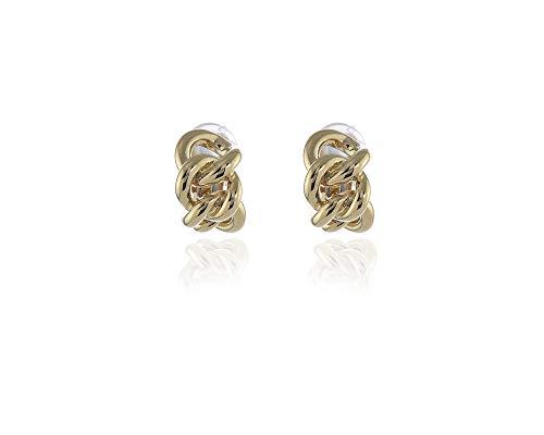 Swarovski Crystal Link Clip Earrings   Gold Polished