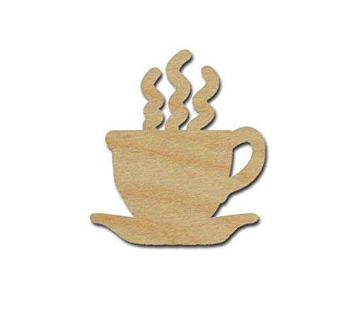 """Coffee Cup Shape Unfinished Wood Cut Out Variety of Sizes (5"""" inch 1 Piece) nuKE171"""