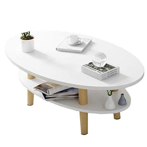 FEE-ZC Einfache Moderne Ideen Beistelltisch Ovaler Couchtisch Holz 2-lagiger Retro Teetisch Wohnzimmer Balkon Kleines Apartment Sofa 100 * 50 * 43cm (Color : White)