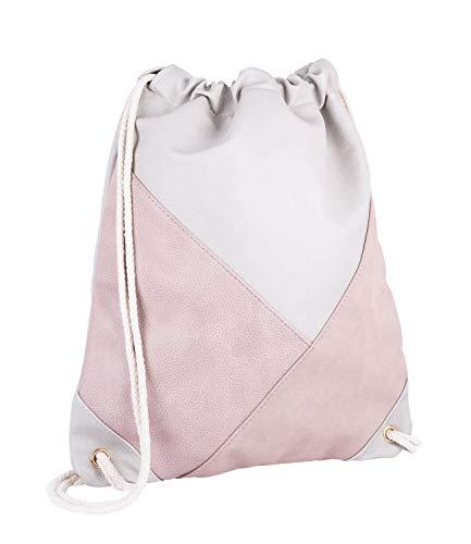SIX Rucksack, Sportbeutel aus beigem veganen Leder, Beiger Kordelnzug, Aufnäher in rosa aus Lederimitat und Velourslederoptik (726-765)