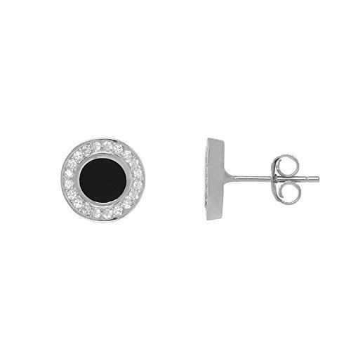 Córdoba Jewels |Pendiente de plata de Ley 925 con diseño Royal Ónix Zirconium. Largo 7 mm.