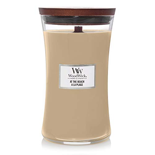 Woodwick Large Hourglass Scented Candle | At the Beach | with Crackling Wick | Burn Time: Up to 130 Hours, At the Beach