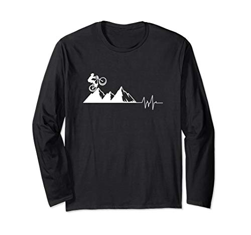 Mountain Bike Love Heartbeat Off-Road Cycle Trail Rider Gift Long Sleeve T-Shirt
