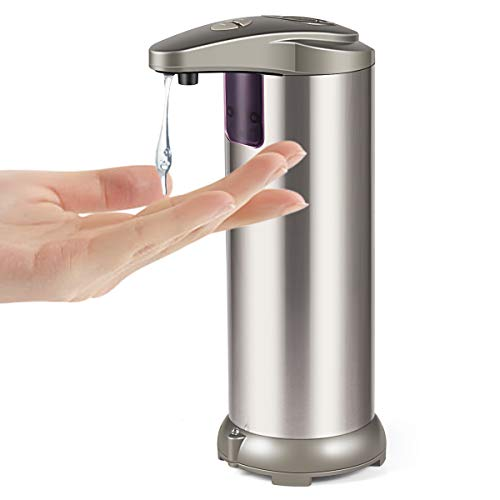 Cakie Soap Dispenser, Touchless Automatic Soap Dispenser, Infrared Motion Sensor Stainless Steel Dish Liquid Hands-Free Auto Hand Soap Dispenser, Upgraded Waterproof Base