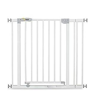 Hauck Barrière de Sécurité pour Enfants Open N Stop incl. Extension de 9 cm / de 84 à 89 cm / Sans Percage / Métal / blanc