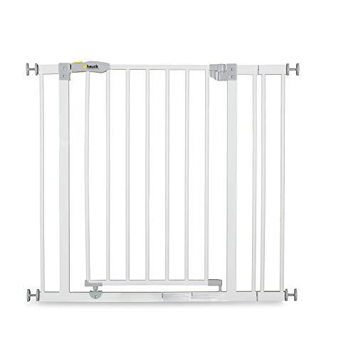 Hauck Türschutzgitter / Treppenschutzgitter für Kinder Open N Stop Safety Gate inkl. 9 cm Verlängerung / ohne Bohren / 84 - 89 cm breit / erweiterbar / Metall Gitter / weiß