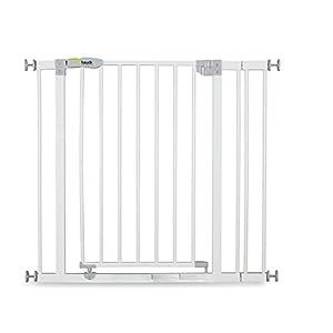 Hauck Barrera de Seguridad de Niños para Puertas y Escaleras Open N Stop Safety incl. Extension 9 cm, Sin Agujeros, 84 - 89 cm, Metal, Blanco