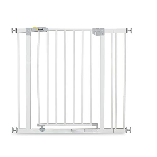 Hauck Safety Gate for Doors and Stairs Open N Stop incl. 9 cm Extension / Pressure Fit / 84 - 89 cm Large / Metal / White