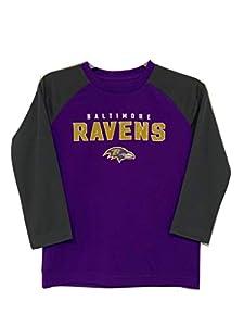 Baltimore Ravens NFL Boys Youth 4-20 Purple/Gray Long Sleeve Performance Shirt (Youth XX-Small)
