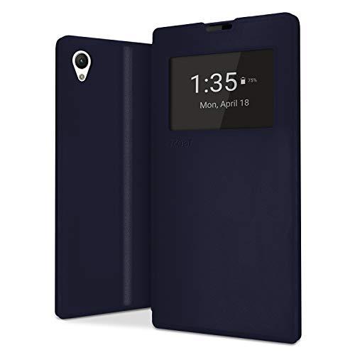 NessKa® Sony Xperia Z1 Hülle | Handy Schutz in Idealion | Flip Case Buch Tasche Handyhülle mit Kartenfach, Fenster, Innen Silikon & Standfunktion aus hochwertigem Kunstleder in Dunkel Blau
